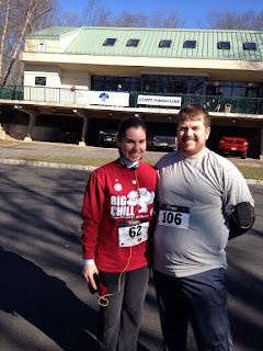 "My husband and me at the ""Run from Winter"" 10k"
