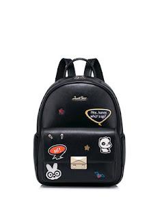 JUST STAR Black Medium Embroideried PU Sweet Backpack StyleWe review