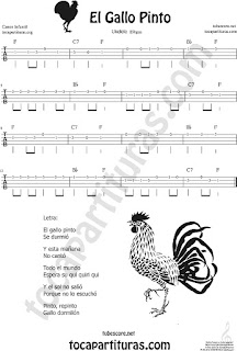 Ukelele Sheet Music for El Gallo Pinto The Painted Rooster Popular Children Music Scores
