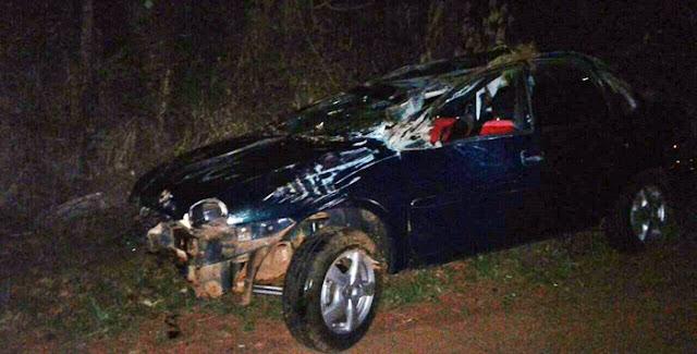 Roncador: Motorista perde o controle e capota na Vasilio Boiko