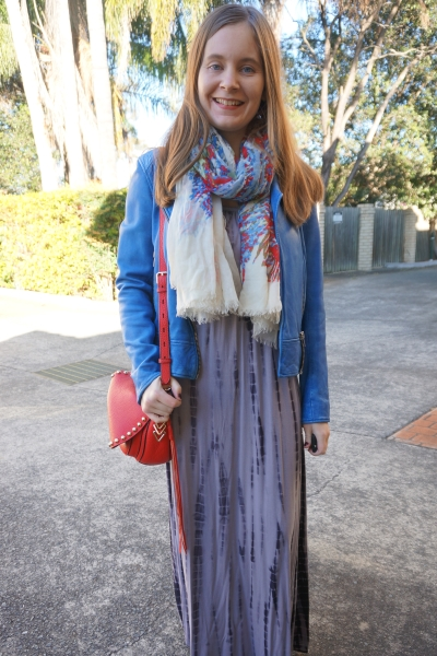 cobalt blue leather jacket, printed scarf, tie dye maxi dress red bag Colourful winter outfit | AwayFromBlue