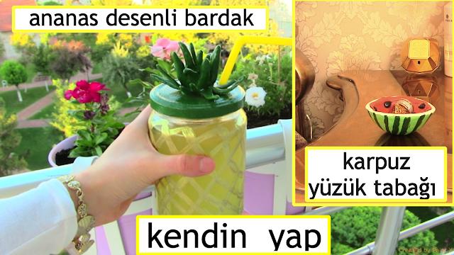 Ananas Desenli Bardak Yapımı ve Karpuz Yüzük Tabağı Yapımı