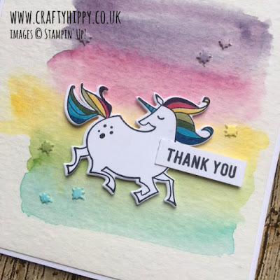 Create a rainbow unicorn card using Aqua Painters and the Magical Day Bundle from Stampin' Up!