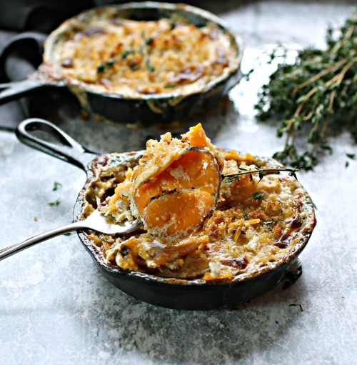 Sweet Potato and Thyme Gratins