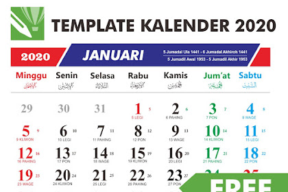 Download GRATIS Template Kalender 2020 CDR