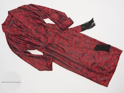 Man Red Burgundy Paisley Silk Dressing Gown Smoking Robe Tassels.