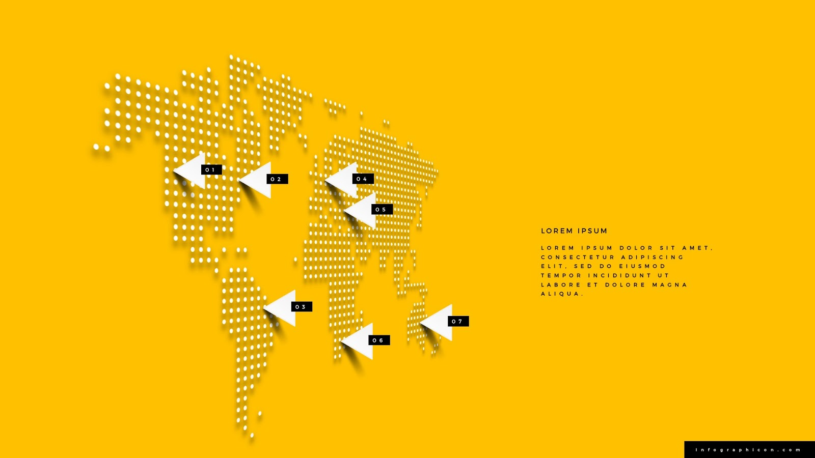 perspective world map infographics for powerpoint - infographicon, Modern powerpoint