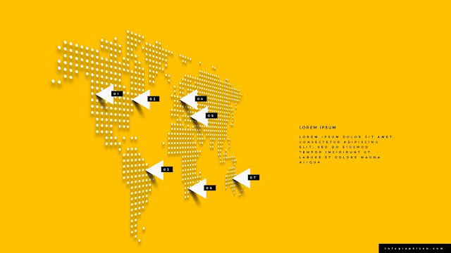 Perspective World Map Infographics for PowerPoint Template Type A