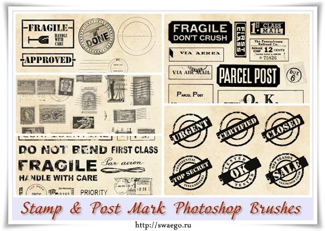 Почтовые марки и штампы. Бесплатные кисти для Фотошопа