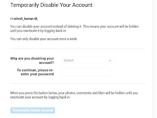 Confirm temprory disable my instagram account