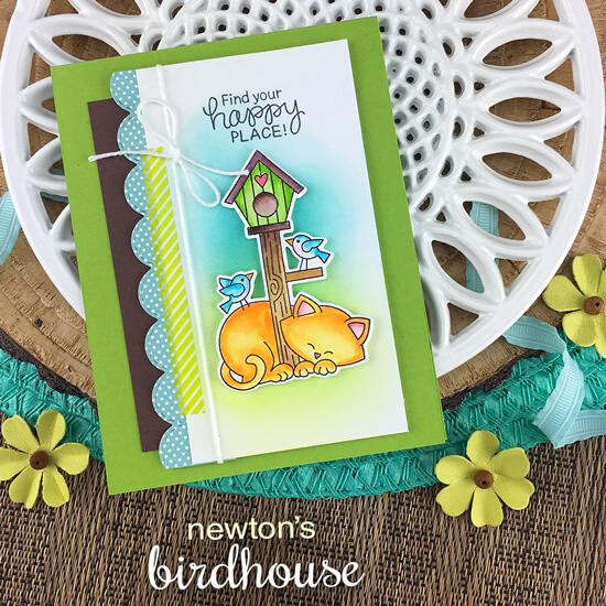 Cat and Birdhouse card by Jennifer Jackson | Newton's Birdhouse Stamp Set and Sky Borders Die Set by Newton's Nook Designs #newtonsnook #handmade