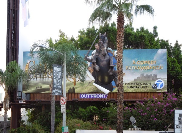 Galavant series premiere 3D horse billboard Sunset Strip