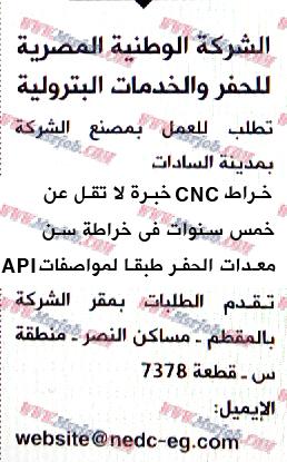 وظائف الشركة الوطنية للحفر والخدمات البترولية 13 مارس 2016