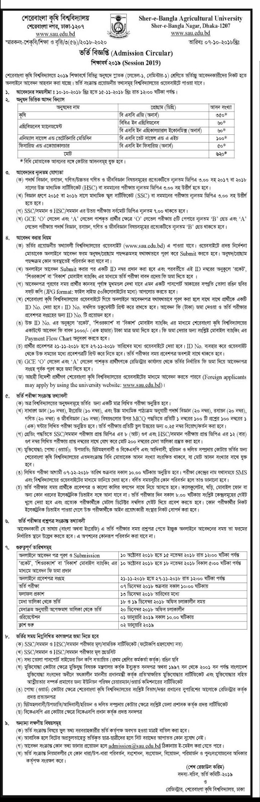 Sher-e-Bangla Agricultural University (SAU) Admission Circular 2018-2019
