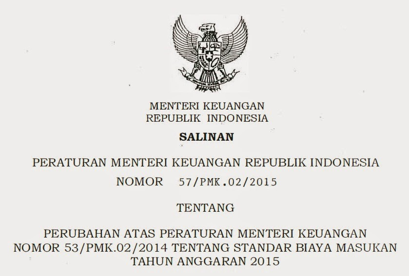 PMK 57 Tahun 2015, Perubahan PMK 53 2014 (SBM 2015)