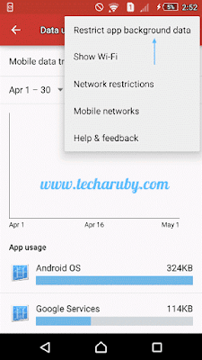 restrict app background data in android