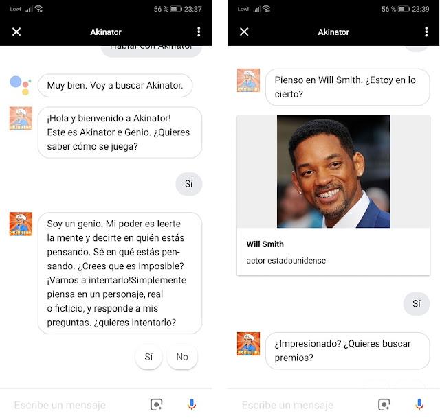 Akinator para Google Assistant