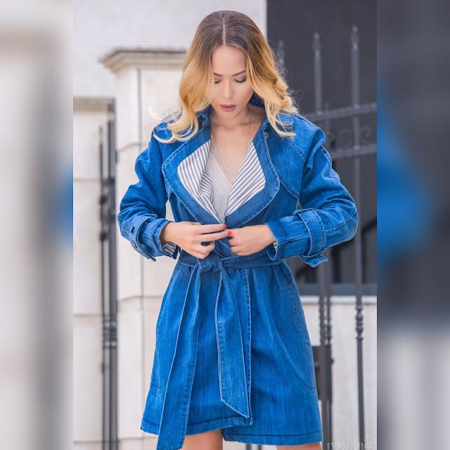 Γυναικείο μπλε τζιν μπουφάν KENLEY