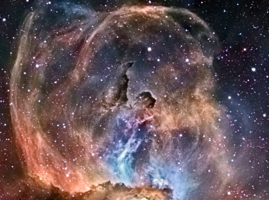 Statue of Liberty Nebula (NGC 3576) in the constellation Carina — original image from NASA's APOD website — image taken and © by Mazlin, Harvey, Gilbert, & Verschatse