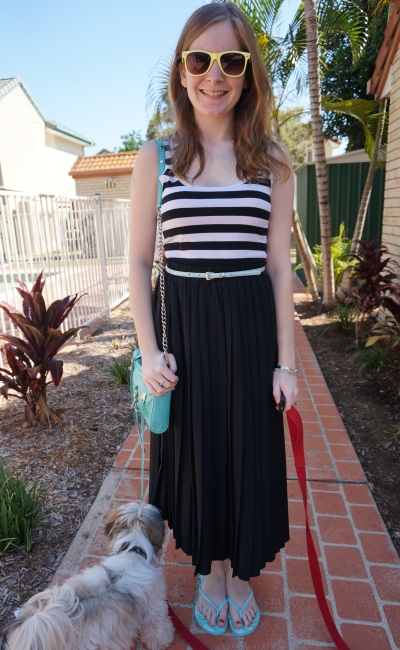 glassons stripe tank belted vintage pleated maxi skirt blue accessories