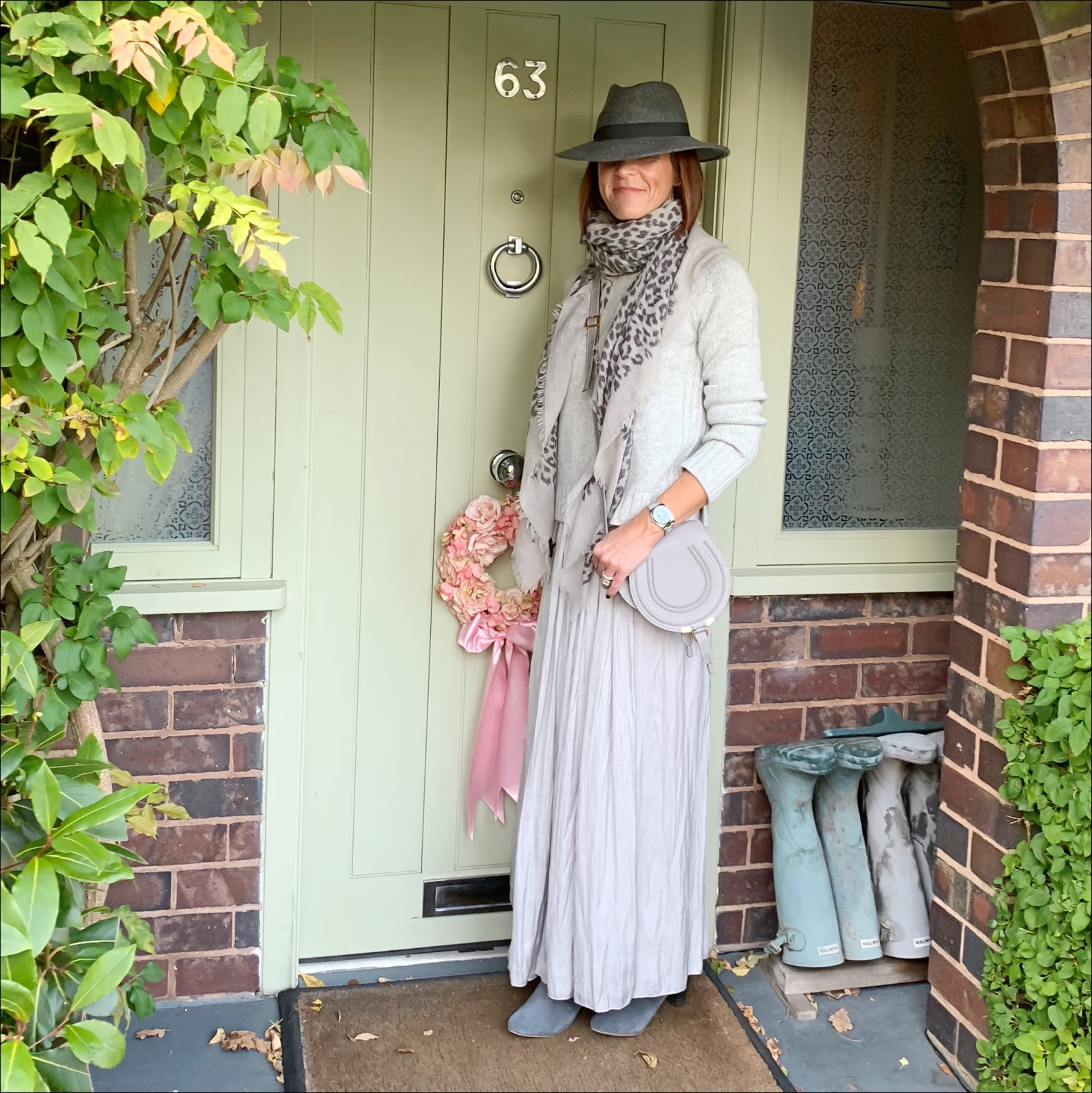 my midlife fashion, zara felt fedora hat, hush wool/cashmere crew neck jumper, massimo dutti leoaprd print scarf, chloe marcie small crossbody bag, massimo dutti gathered wrap around skit, hush thornon ankle boots