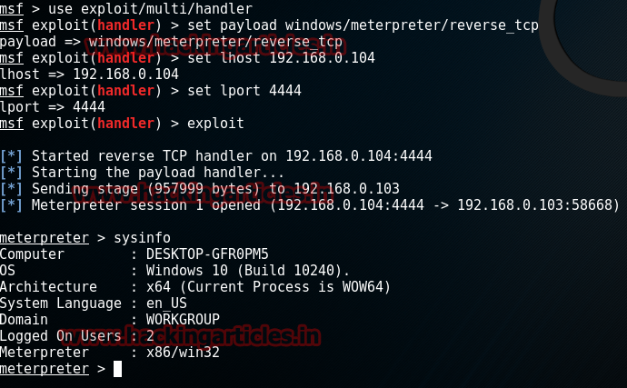 Hack Remote Windows 10 PC using TheFatRat