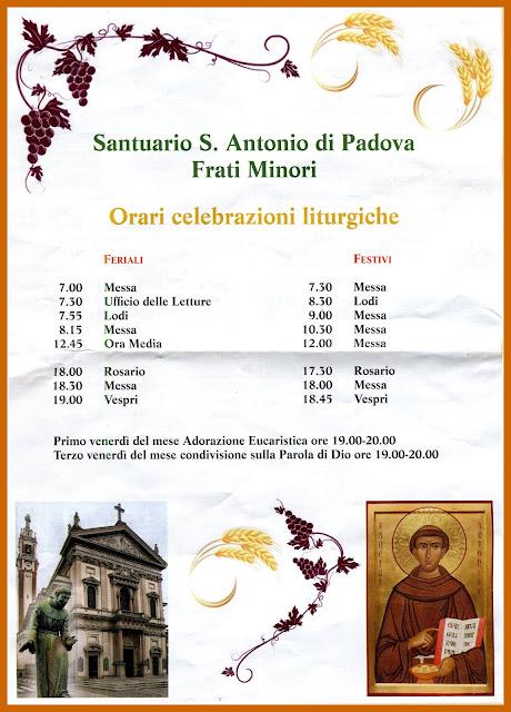 Orario celebrazioni liturgiche
