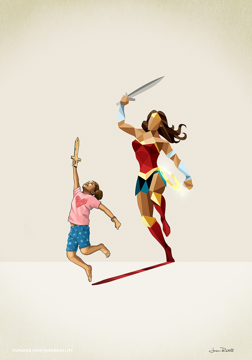 02-Wonder-Woman-Diana-Prince-Jason-Ratliff-Comic-Book-Heroes-in-Super-Shadows-II-Illustrations-www-designstack-co