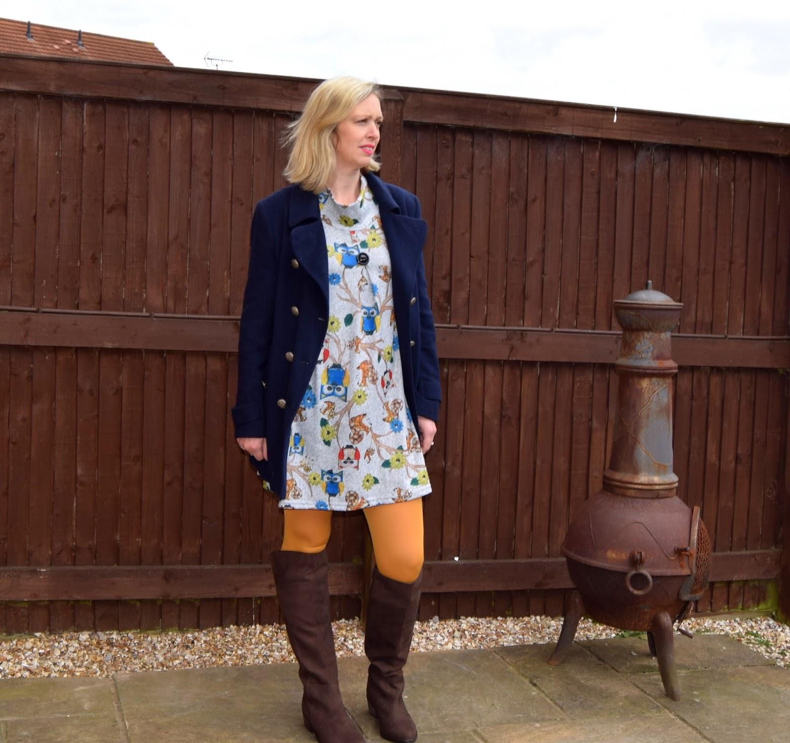 Styling A Blue Coat, Owl Jumper & Mustard Tights
