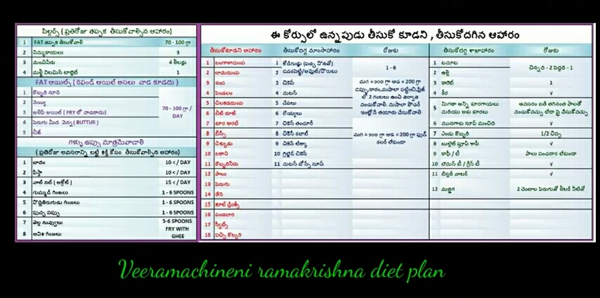 Veeramachaneni diet plan