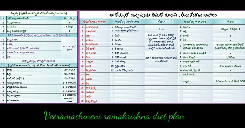 Veeramachaneni Ramakrishna Diet Plan for Weight Loss | Does it Work?