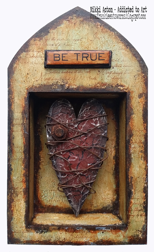 Rusty Heart Shrine - featuring Deco Art Media Fluid Acrylics and That's Crafty Surfaces - by Nikki Acton