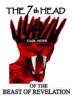 a graphic (c) Erika Grey of the 7th head of the beast of revelation, which shows a scarlet head with the mouth of a lion with large teeth, with ten black horns on its head and the words The 7th Head written above the head and Of the Beast of Revelation written below the head.