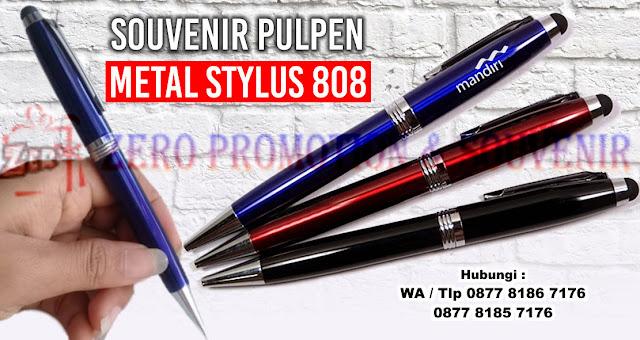 Pen Metal Stylus 808, Pulpen Metal, PULPEN STYLUS BB808, Barang Promosi Custom Pen Metal Stylus 808, Pulpen 2 fungsi, Bolpoin + Stylus pen, Stylus Pen 2in1