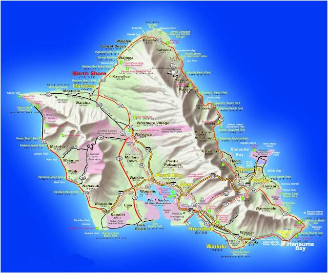 Mapa da Ilha Oahu - Havaí