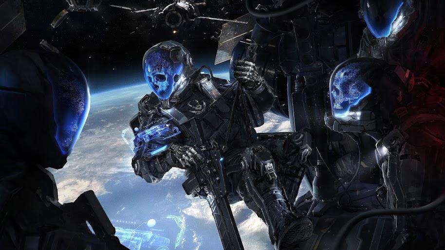 Sci-Fi, Skull, Soldiers, Space, 4K, #116