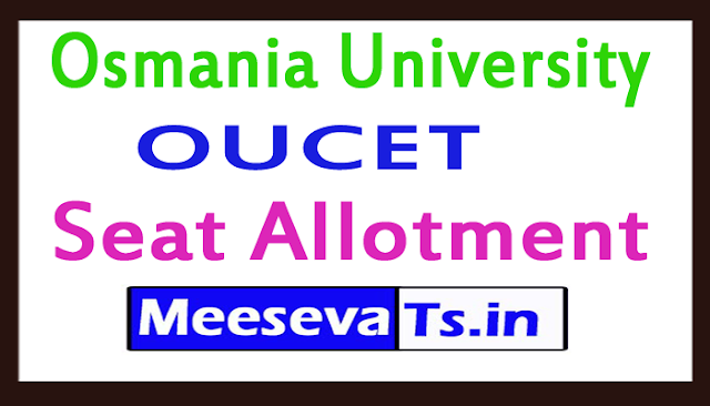 OUCET Seat Allotment 2019