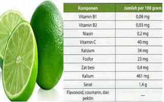 manfaat Kandungan senyawa Jeruk nipis untuk kesehatan