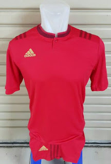 gambar desain terbaru Jersey setelan futsal Adidas retro kerah Shanghai warna merah di enkosa sport toko online jersey bola terpercaya