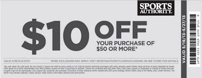 Sports Authority Save $10 off $50+