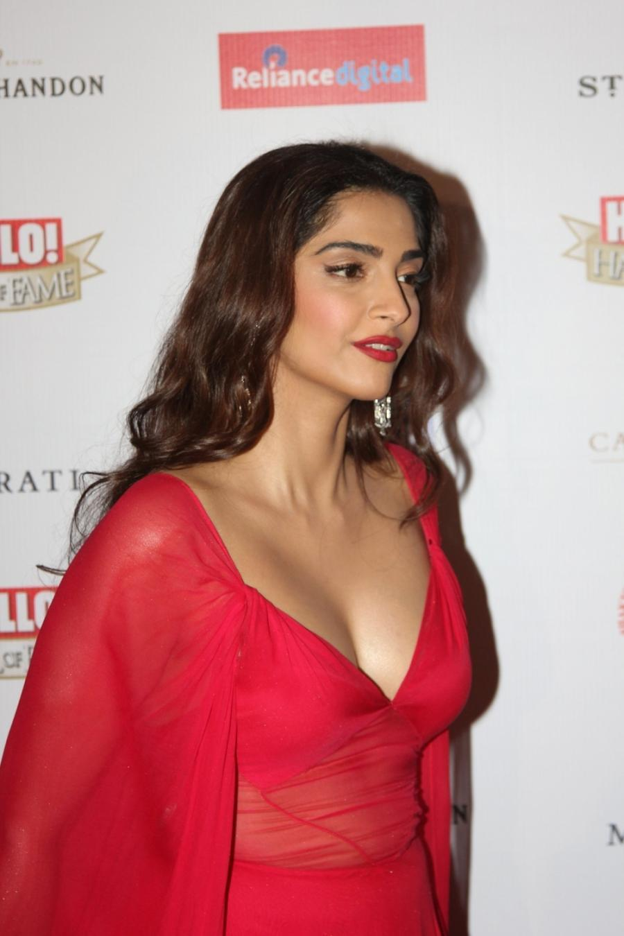 Sonam Kapoor Sexy Cleavage Show In Red Transparent Dress -8934