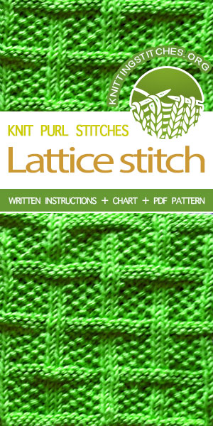 Knitting Stitches --Lattice With Seed Stitch (aka Square Lattice Stitch). Instructions provided in charted and written form.