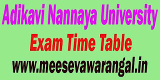 Adikavi Nannaya University B.Ed M.Ed B.P.Ed M.P.Ed Exam Time Table