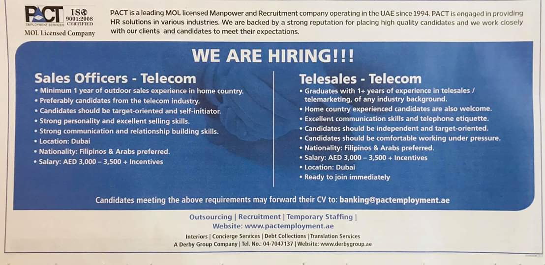 We are Hiring Sales Officers & Telesales for UAE JOBS Local