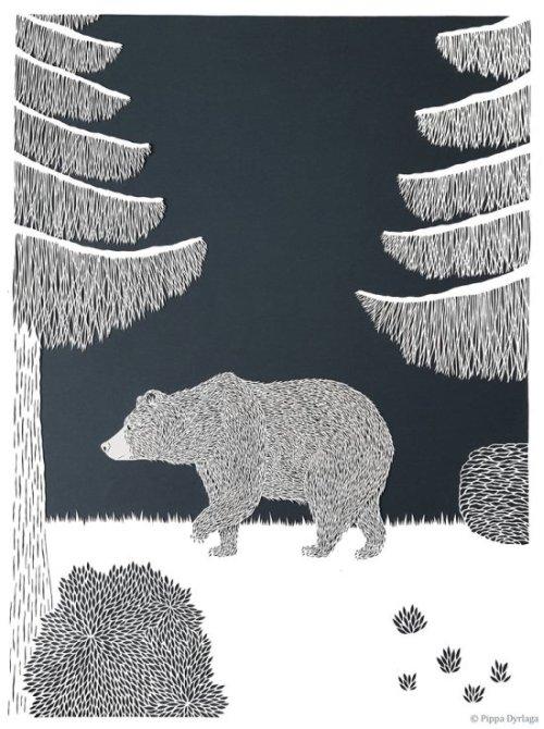 Pippa Dyrlaga arte papeis cortados ilustrações animais natureza espaço negativo