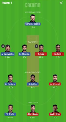 AA vs NBB Dream 11 Team