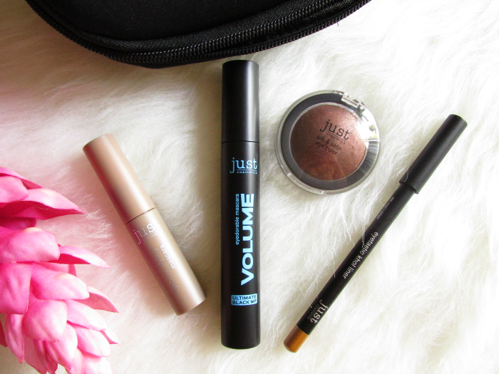 Review: just cosmetics - eyebrow styling mascara 010 light - 5ml - 3.49 Euro Volume eyedorable mascara 010 ultimate black WP -  12ml - 3.49 Euro silk & satin eye color 040 catgroove - vegan - 2.99 Euro eyetastic khol liner 090 angel´s delight - 1.79 Euro