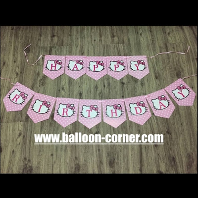 Bunting Flag Segilima HAPPY BIRTHDAY Motif Hello Kitty