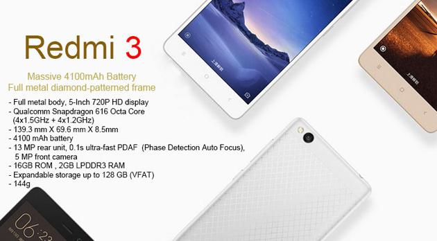 Harga dan Spesifikasi Xiaomi Redmi 3
