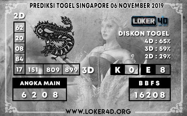 PREDIKSI TOGEL SINGAPORE LOKER4D 06 NOVEMBER 2019